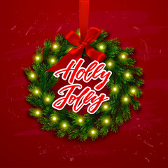 Christmas greeting card. Happy new year. Xmas vector background. Hand drawn calligraphy. concept handwritten Holly Jolly
