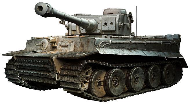 Tiger tank in steel grey