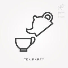 Line icon tea party