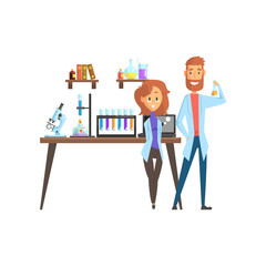 Flat vector of man scientist and girl assistant in laboratory. Microscope, test tubes, spirit lamp and laptop on working desk, books and glassware with liquids on shelves.