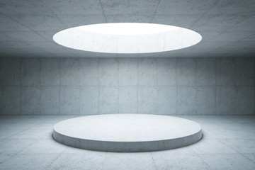 blank concrete space interior, 3d rendering Wall mural
