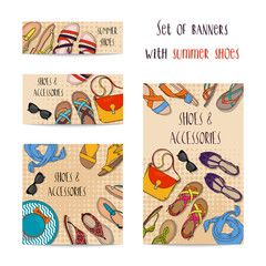 Set of four banners with female summer shoes and accessories