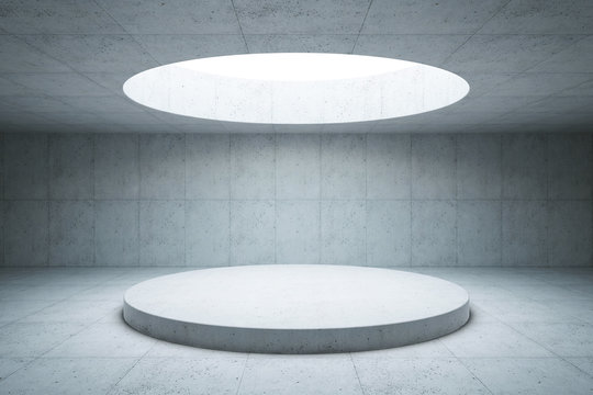 blank concrete space interior, 3d rendering