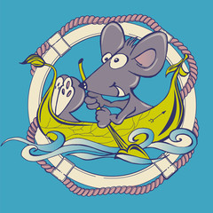 Mouse rowing on a leaf boat