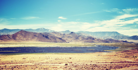 Death Valley National Park panoramic landscape, color filtered photo, USA.