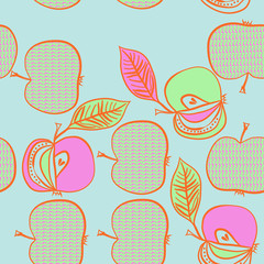 Apples  seamless pattern, scribbles. Hand drawn.