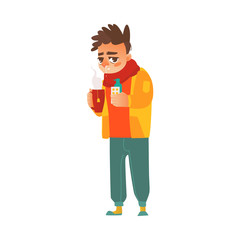 vector flat young sick man in scarf suffering from runny nose, headache and temperature, sneezing, holding cup of hot beverage, pills and spray. Isolated illustration on a white background.