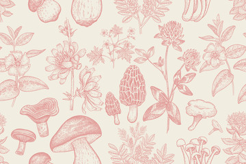 Seamless pattern with plants and mushrooms.