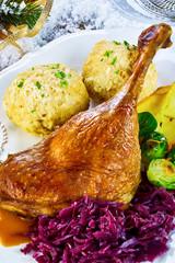 Golden roasted turkey leg with dumplings