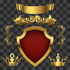 Golden vector heraldic elements. Kings crowns, banners
