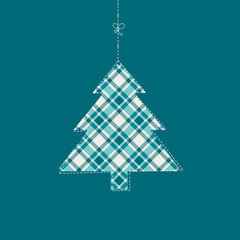 Hanging Xmas Tree Checked Pattern Turquoise Background