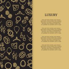 Thin line jewelry and diamonds luxury banner