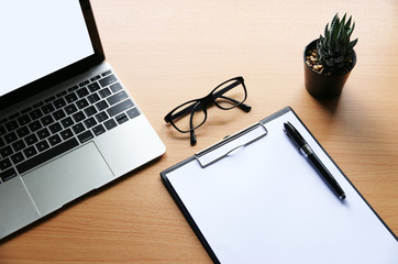 blank paper with copy space on the desk in Office