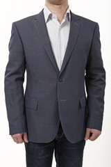 men's jacket on a white background. material structure.