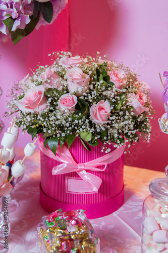 Candy bar bright white interior with lots of pink flowers pink bright white interior with lots of pink flowers pink powder bouquet mightylinksfo