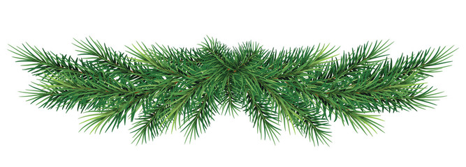 long garland of Christmas tree branches . Realistic fir-tree border, frame isolated on white without a shadow . Great for christmas flyers, party posters.