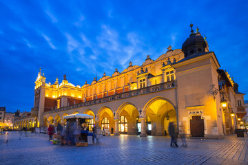 The Krakow Cloth Hall on the Main Square at night, Poland