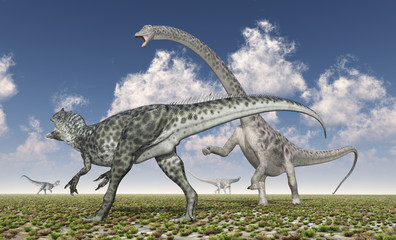 Allosaurus attacks Diplodocus