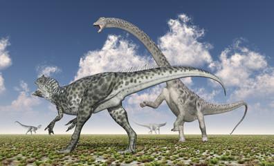 Allosaurus attacks Diplodocus