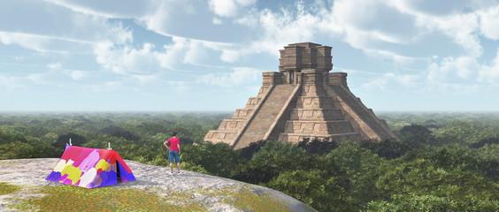 Weltenbummler und Maya Tempel