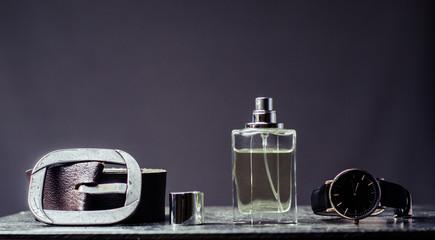 man's set, strap, watch, perfume