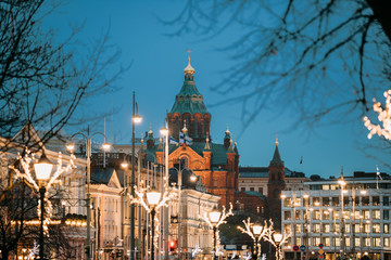 Helsinki, Finland. Uspenski Cathedral On Hill In Evening Or Night
