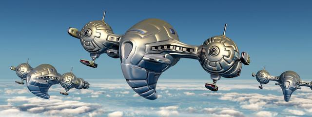 Raumschiffe über den Wolken in der Erdatmosphäre