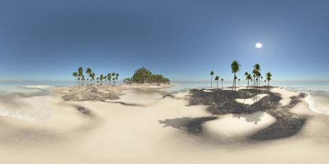 360 Grad Panorama mit einer Insel im Meer