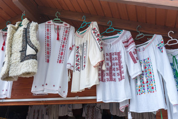 Traditional clothes in Bucovina, near Voronet Monastery, in Romania