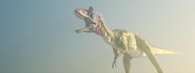 Dinosaurier Cryolophosaurus im Nebel
