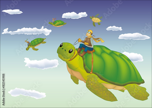 Illustrazione fantasy di tartarughe volanti. Vettoriale