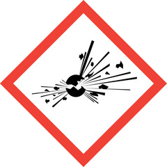 Hazard sign with explosive substances