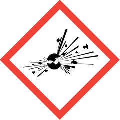 Hazard sign with explosive substances