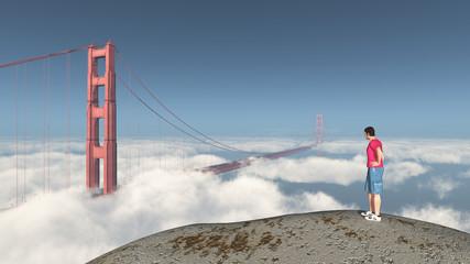 Weltenbummler und Golden Gate Bridge in San Francisco