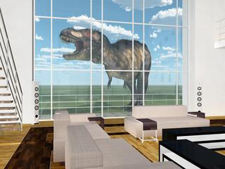 Tyrannosaurus Rex vor Wohnraum mit hohem Fenster