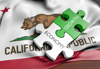 California economy and financial market growth GDP concept, 3D rendering