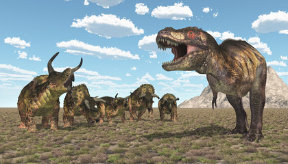 Tyrannosaurus Rex und Nasutoceratops