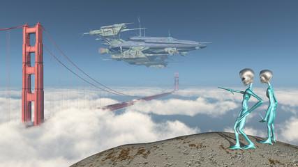 Großes Raumschiff über der Golden Gate Bridge in San Francisco und Außerirdische