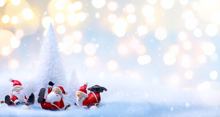 Christmas tree light and holidays Santa decoration ornaments