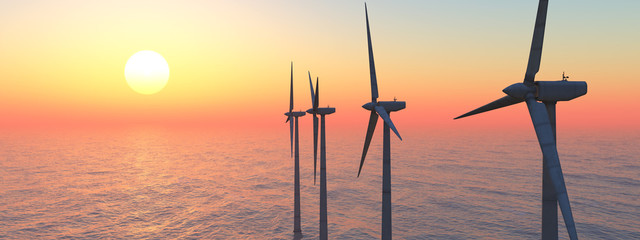 Windkraftanlagen im Meer bei Sonnenuntergang