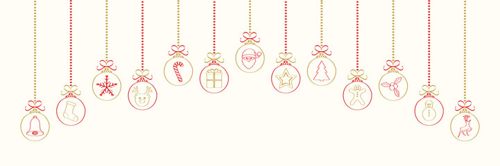 Hand drawn Christmas balls with cute icons. Vector.