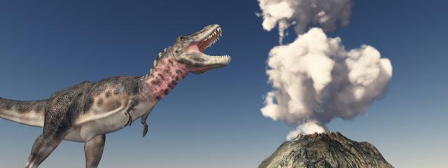 Vulkanausbruch und der Dinosaurier Tarbosaurus