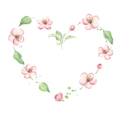 Floral wreath, heart shape. Romantic pink flowers. Watercolor for Valentine day, Wedding