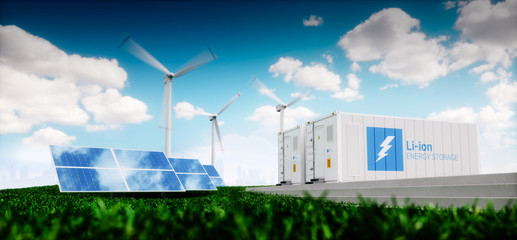 Concept of energy storage system. Renewable energy - photovoltaics, wind turbines and Li-ion battery container in fresh nature with distant blurred city in background. 3d rendering.