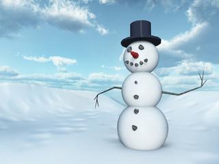Schneemann in einer Winterlandschaft