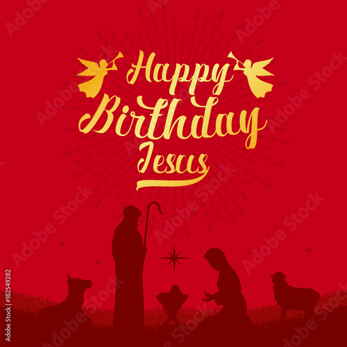 Happy Birthday Jesus With Scenery Mary And Joseph In A Manger Baby On Red