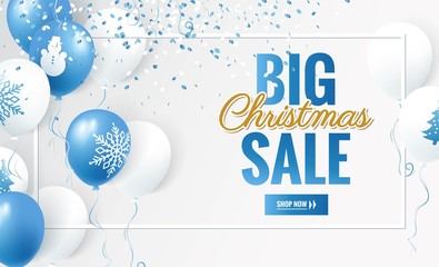 Big Christmas sale design template. Holiday winter background with balloons. Vector illustration