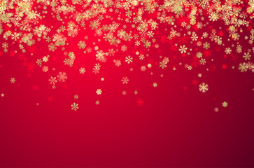 Pink winter background with snowflakes.