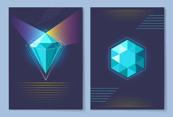 Poster with Diamond of Blue Vector Illustration