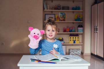 funny girl pig puppet theatre